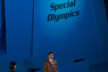 Timothy Shriver, Präsident Special Olympics, bei seiner Abschlussrede im Yongpyeong Dome. Foto: Luca Siermann